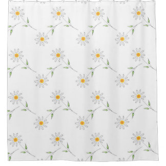 White Daisy Pen and Watercolor Pattern Shower Curtain