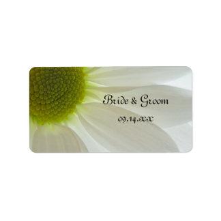 White Daisy Petals Wedding Label