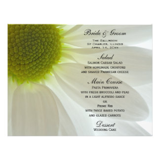 White Daisy Petals Wedding Menu Personalized Flyer