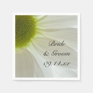 White Daisy Petals Wedding Paper Napkin