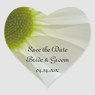 White Daisy Petals Wedding Save the Date Heart Sticker