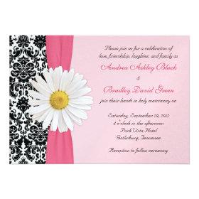 White Daisy Pink Black Damask Wedding Invitation