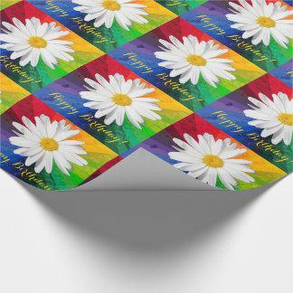 White Daisy Rainbow Happy Birthday! Wrapping Paper
