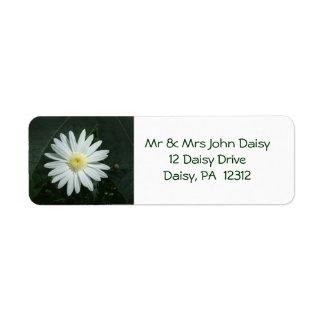 White Daisy Return Address Label