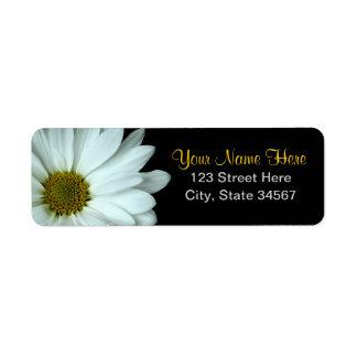 White Daisy Return Address Labels