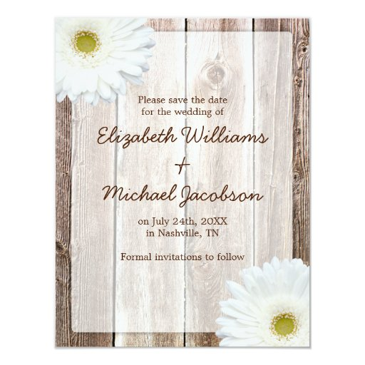 White Daisy Rustic Barn Save the Date Announcement