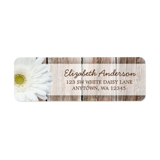 White Daisy Rustic Barn Wood Address Labels