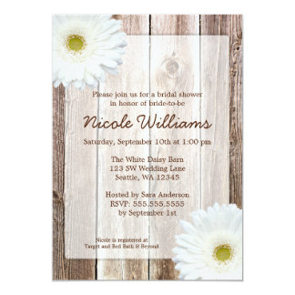 White Daisy Rustic Barn Wood Bridal Shower 5x7 Paper Invitation Card