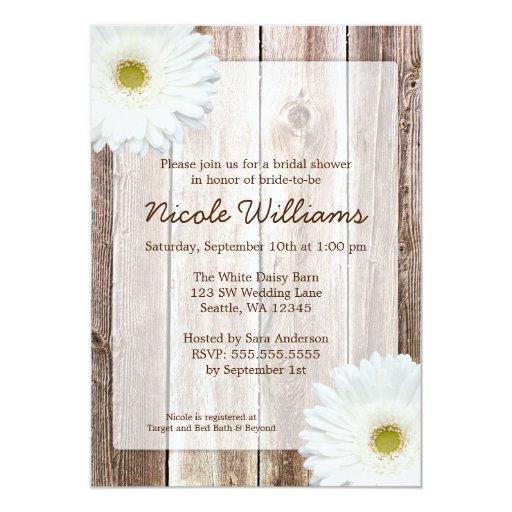 White Daisy Rustic Barn Wood Bridal Shower 5x7 Paper Invitation Card