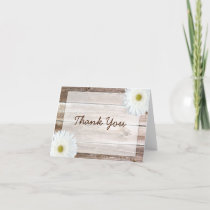 White Daisy Rustic Barn Wood Thank You