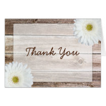 White Daisy Rustic Barn Wood Thank You Card