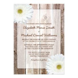 White Daisy Rustic Barn Wood Wedding Invitations Invite
