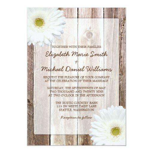 White Daisy Rustic Barn Wood Wedding Invitations