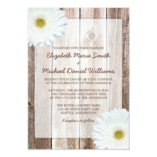 White Daisy Rustic Barn Wood Wedding Invitations