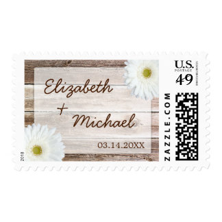 White Daisy Rustic Barn Wood Wedding Postage Stamps