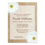 White Daisy Rustic Burlap Bridal Shower Personalized Invitations