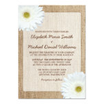 White Daisy Rustic Burlap Wedding Invitations