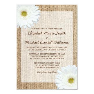 White Daisy Rustic Burlap Wedding Invitations