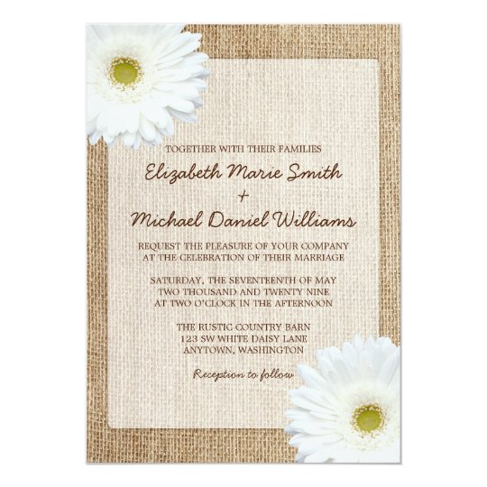 White Black Gold Daisy Wedding Invitation: White Daisy Rustic Burlap Wedding Invitations