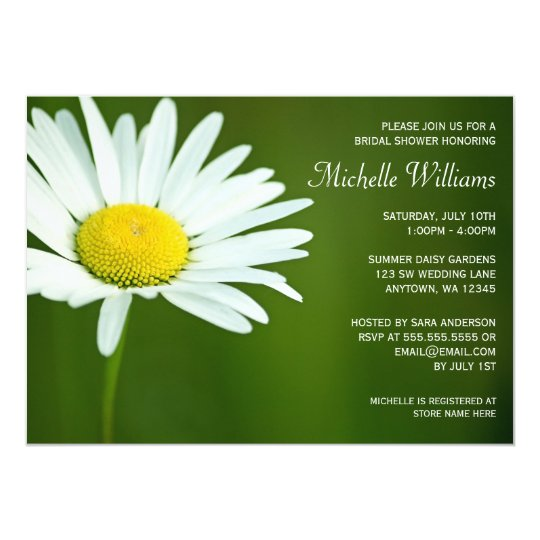 White Daisy Summer Bridal Shower Invitations