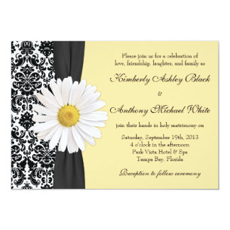 White Daisy Vintage Damask Wedding Invitation