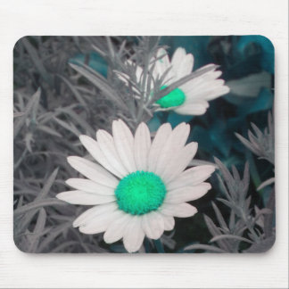 White Daisy (w Green) mouse pad