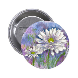 White Daisy Watercolor Flower Painting Pinback Button