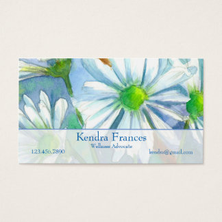 White Daisy Watercolor Flowers Indigo Blue Business Card
