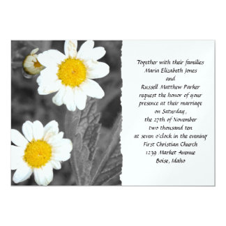 White Daisy Wedding 5x7 Paper Invitation Card