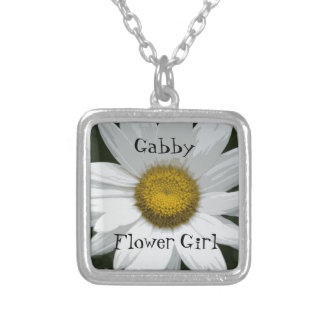 White Daisy Wedding Flower Girl Silver Plated Necklace