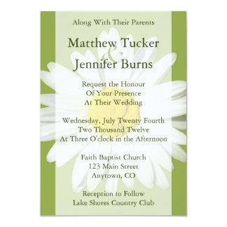 """White Daisy Wedding Invitation Announcement 5"""" X 7"""" Invitation Card"""