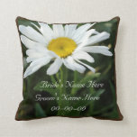 White daisy wedding personalized  with name pillow