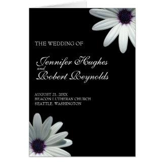 White Daisy Wedding Program Card
