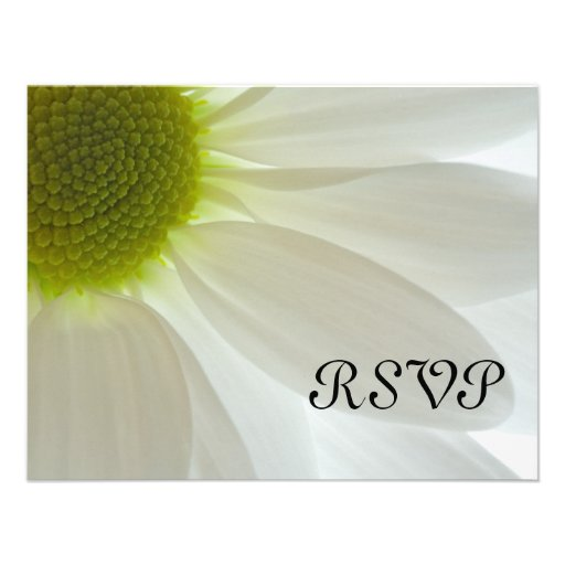 White Daisy Wedding RSVP Response Card Personalized Announcement