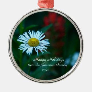 White Daisy Wildflower Christmas Ornament, Round