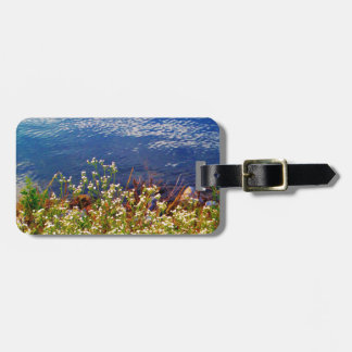 White daisy wildflowers blue water luggage tag
