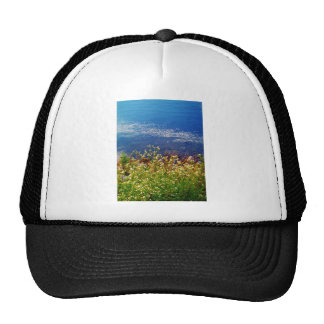 White daisy wildflowers blue water trucker hat