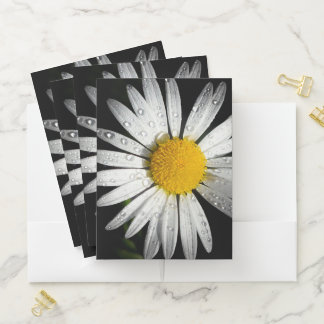 White Daisy with Dew Drops Pocket Folder