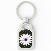 White Daisy with Pink Center in Grass Photograph Keychain