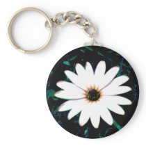 White Daisy with Yellow Center in Grass Photograph Keychain