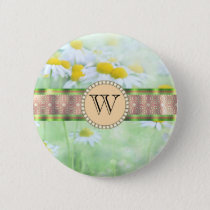 White Daisy's in Green Meadow Monogram Button