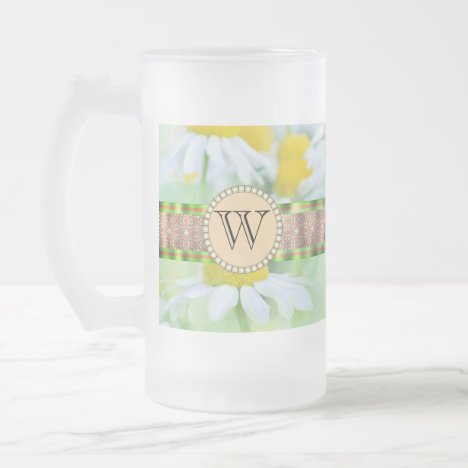 White Daisy's in Green Meadow Monogram Frosted Glass Beer Mug