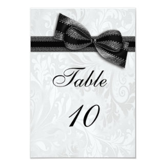 White Damask and Black Faux Bow Card