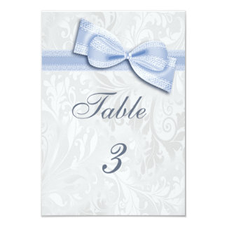 White Damask and Blue Faux Bow Card