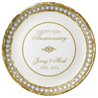 White Damask And Diamonds- Gold Anniversary