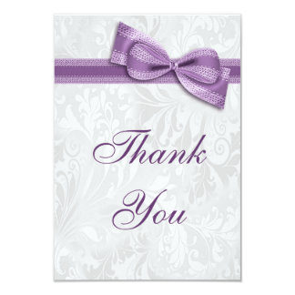 White Damask and Faux Bow Thank You Card