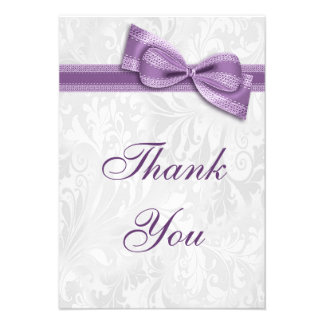 White Damask and Faux Bow Thank You Custom Invite