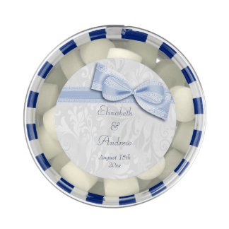 White Damask and Faux Bow Wedding Favors Chewing Gum Favors