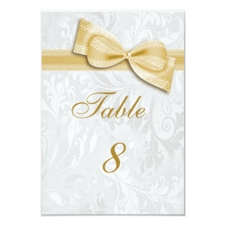 White Damask and  Gold Faux Bow Card