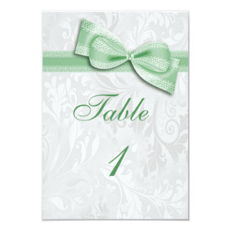 White Damask and  Green Faux Bow Card